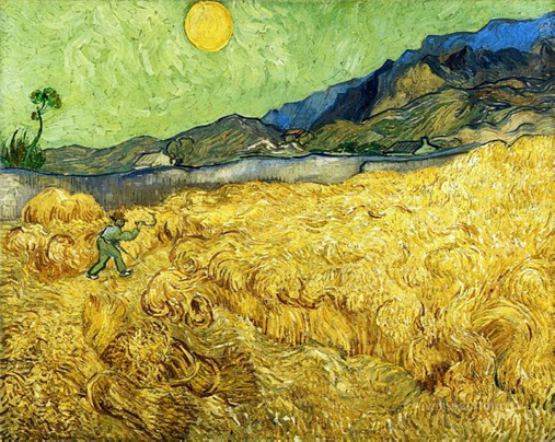 wheatfield with reaper by vincent van gogh